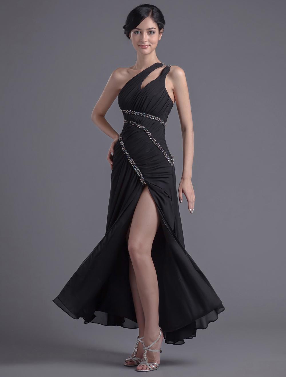 Sheath Black Chiffon Sequin One-Shoulder Ankle-Length Prom Dress (Wedding Prom Dresses) photo
