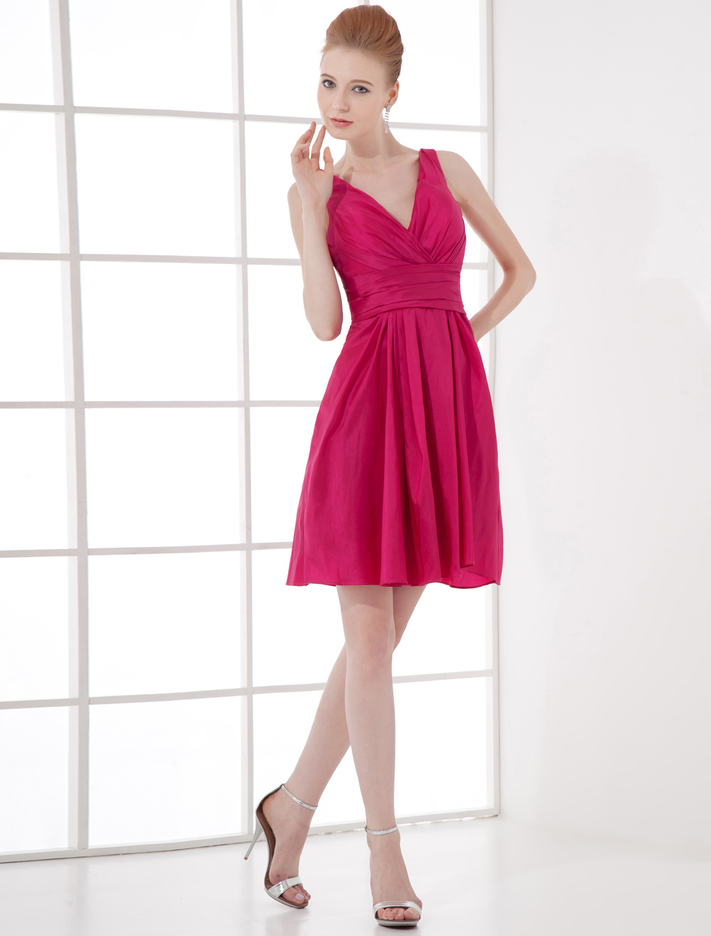 A-line Fuchsia Elastic Woven Satin Off-The-Shoulder Short Wedding Bridesmaid Dress