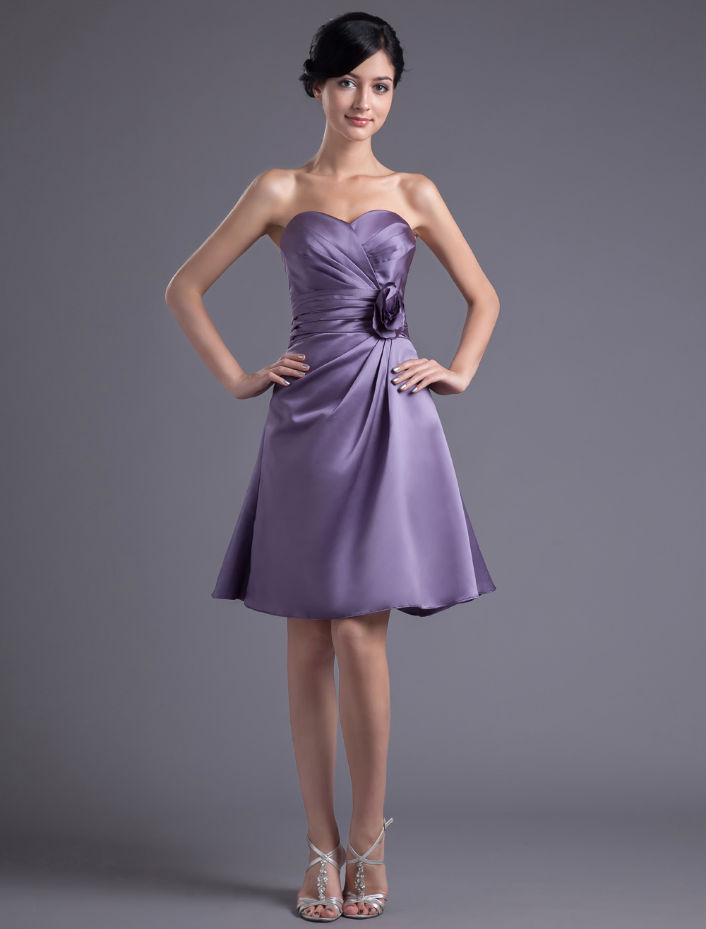 A-line Lilac Satin Floral Sweetheart Knee-Length Wedding Bridesmaid Dress