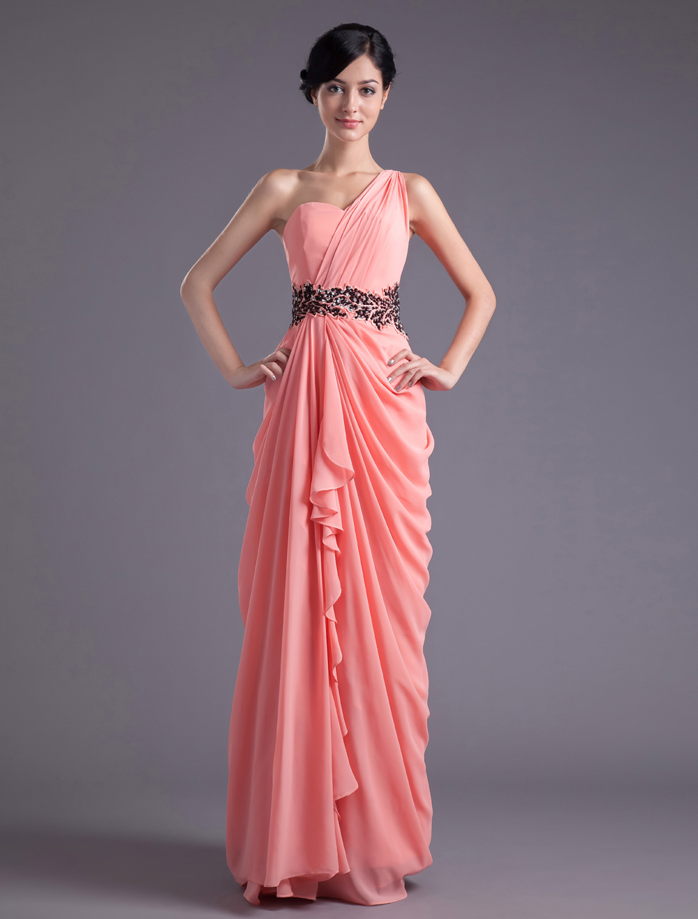 Sheath Watermelon Chiffon Beading One-Shoulder Floor-Length Wedding Bridesmaid Dress
