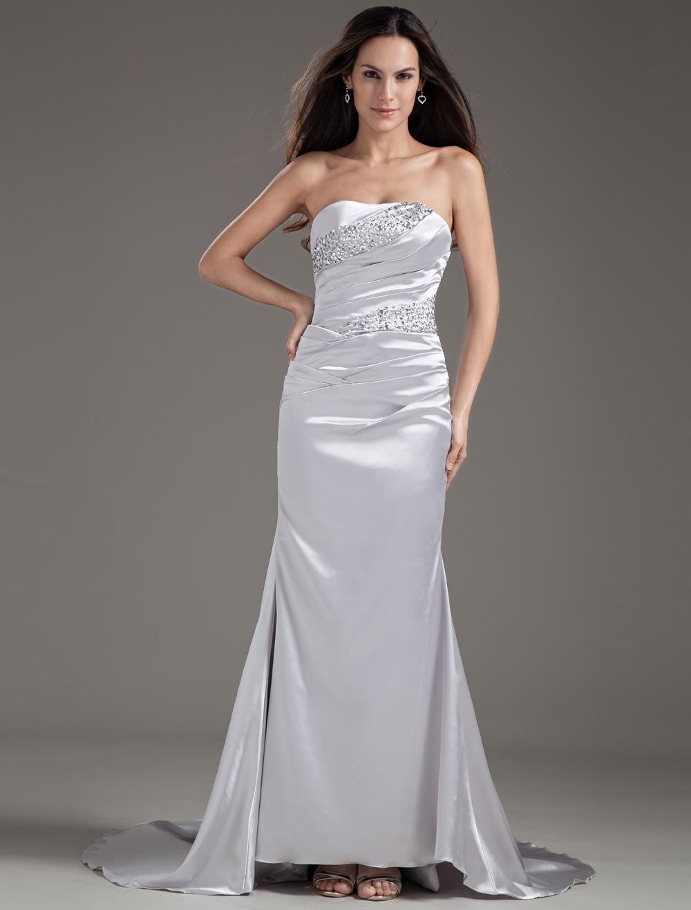 Elegant Sheath Sequin Strapless Silver Evening Dress (Wedding Evening Dresses) photo
