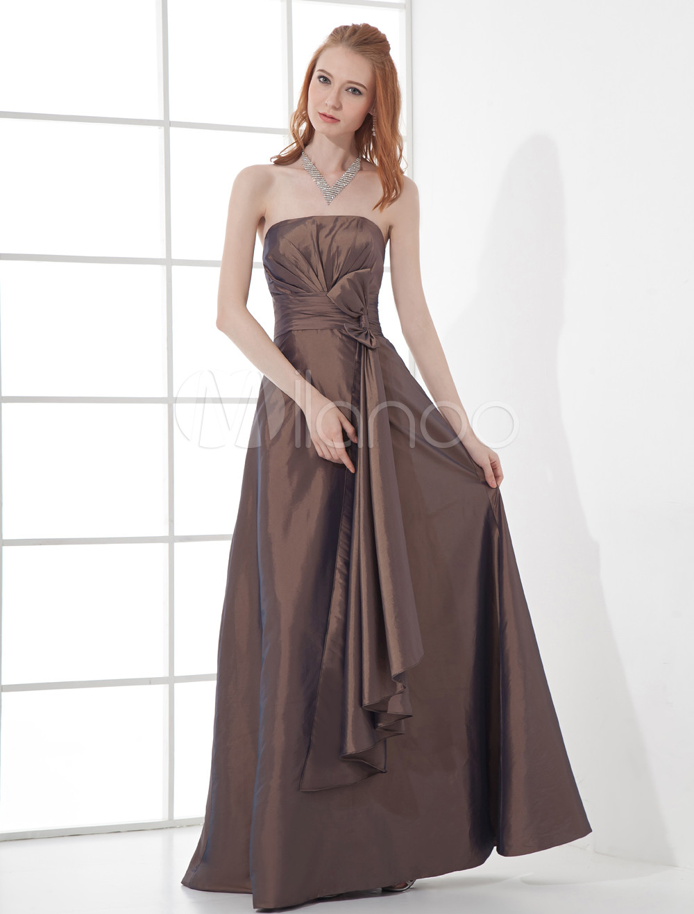 A-line Brown Satin Bow Strapless Floor-Length Wedding Bridesmaid Dress
