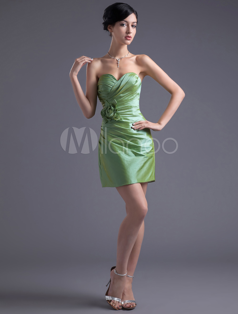 Sheath Sage Taffeta Floral Sweetheart Short Bridesmaid Dress
