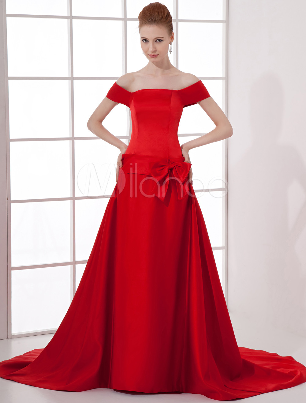 Classic Red Satin Bow Off-The-Shoulder Women's Evening Dress