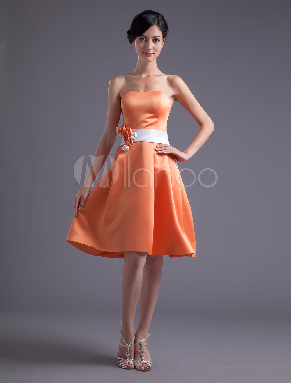 A-line Orange Satin Floral Strapless Bridesmaid Dress For Wedding
