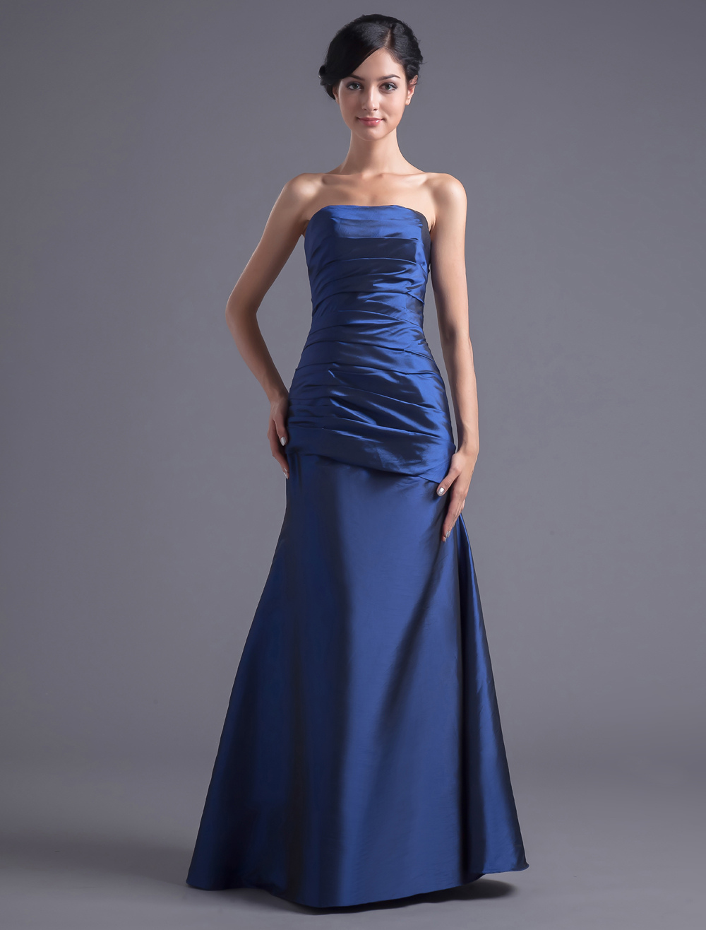 Sheath Royal Blue Taffeta Strapless Bridesmaid Dress For Wedding