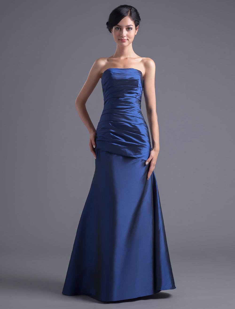 Royal Blue Strapless Bridesmaid Dress