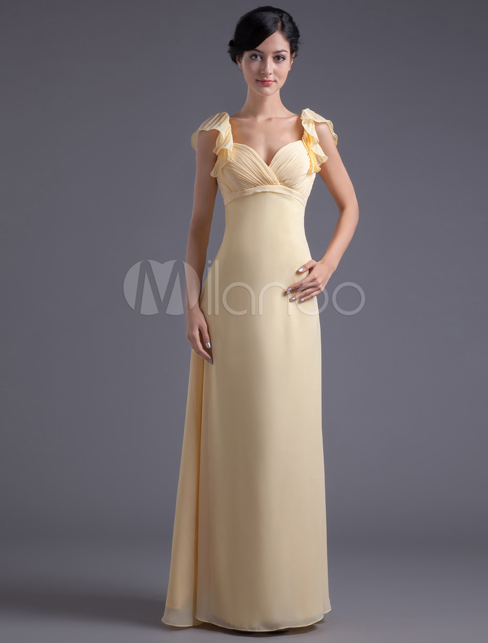 Sheath Daffodil Chiffon Floor-Length Bridesmaid Dress For Wedding