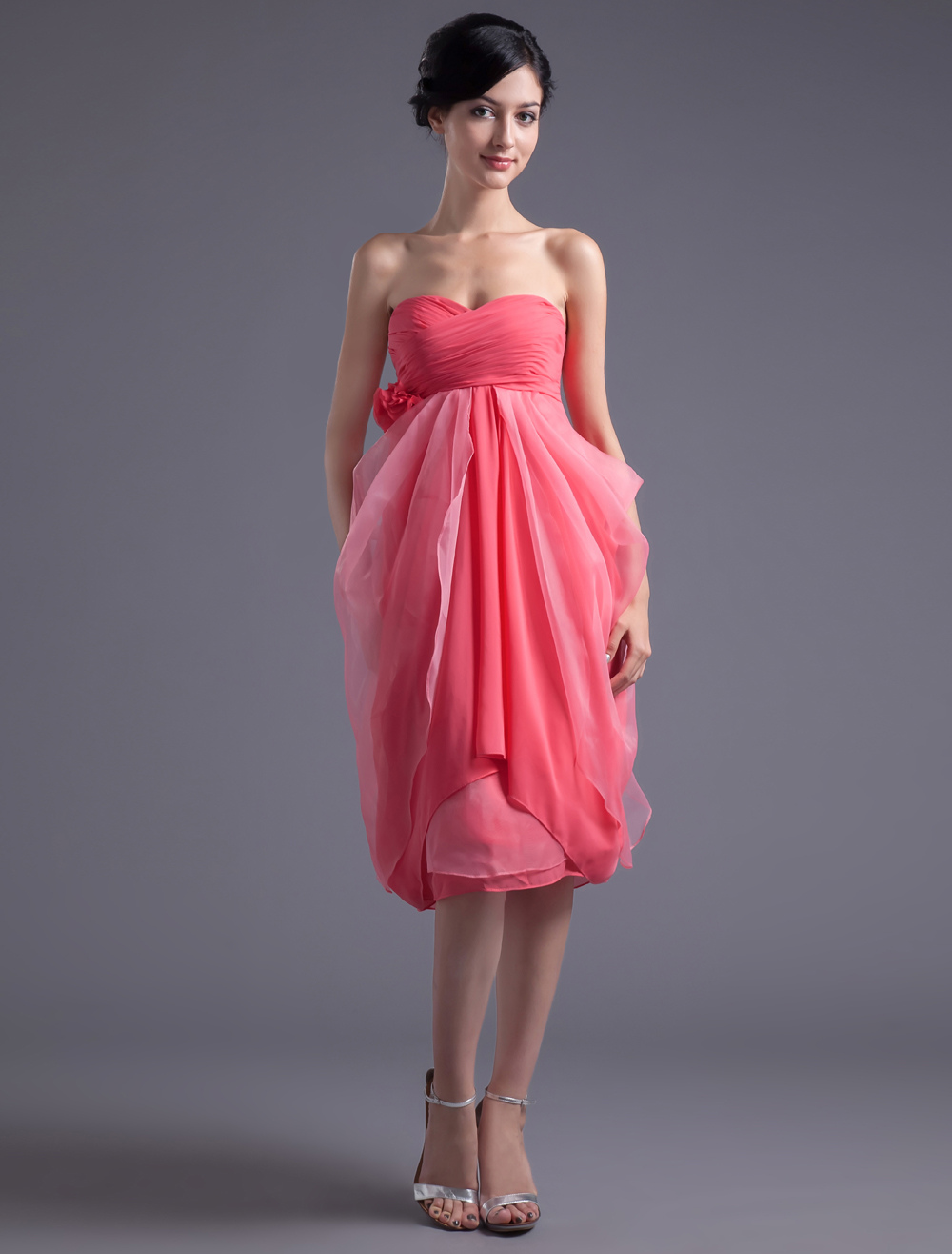 Sweetheart Neck Flower Chiffon Fuchsia Pretty Bridesmaid Dress