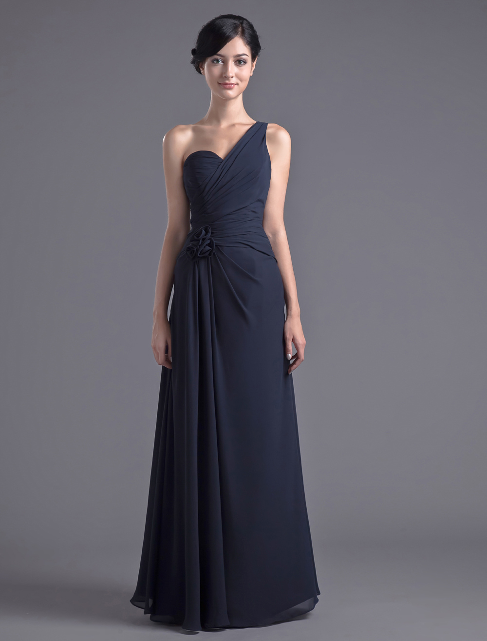 Elegant Dark Navy Chiffon Floral One-Shoulder Floor-Length Bridesmaid Dress For Wedding