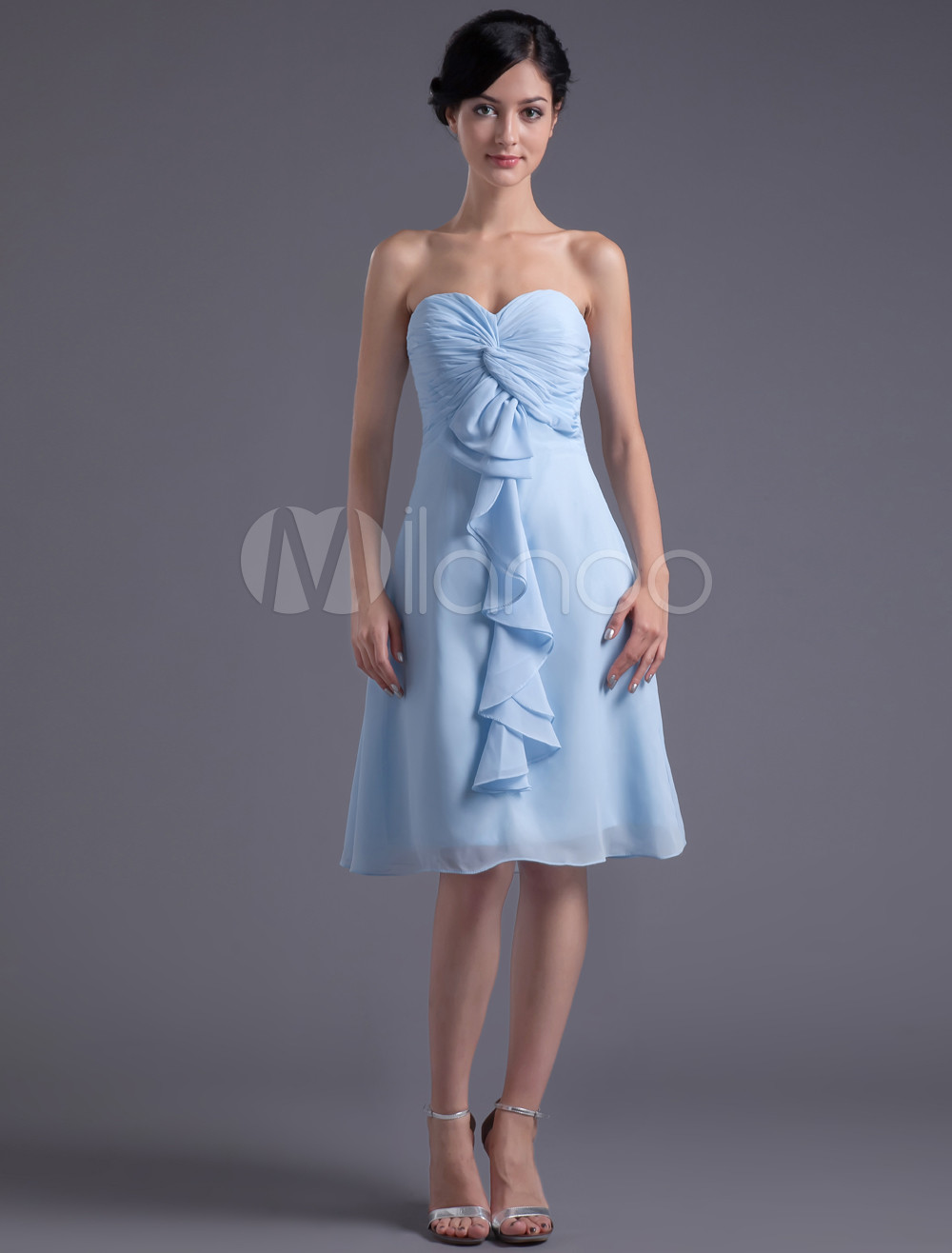 A-line Light Sky Blue Chiffon Ruffles Sweetheart Wedding Bridesmaid Dress