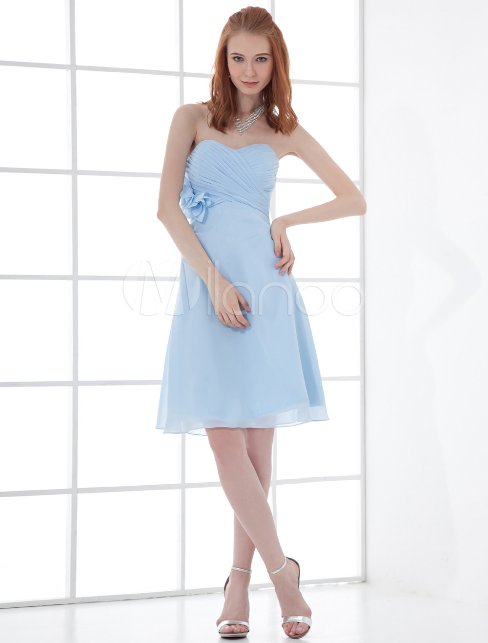 A-line Light Sky Blue Chiffon Floral Bridesmaid Dress For Wedding