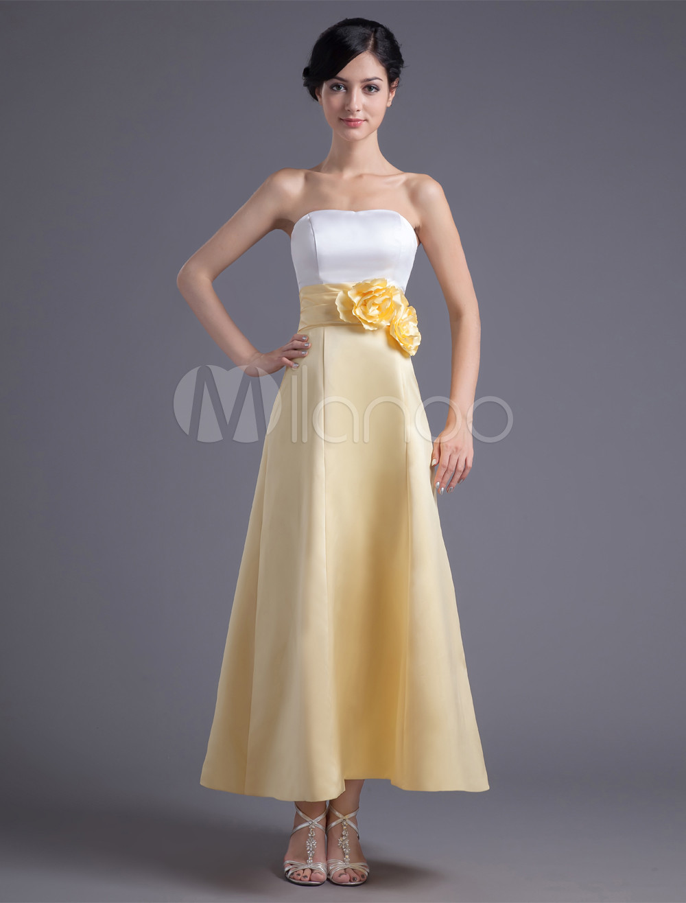 A-line Satin Floral Strapless Ankle-Length Bridesmaid Dress For Wedding