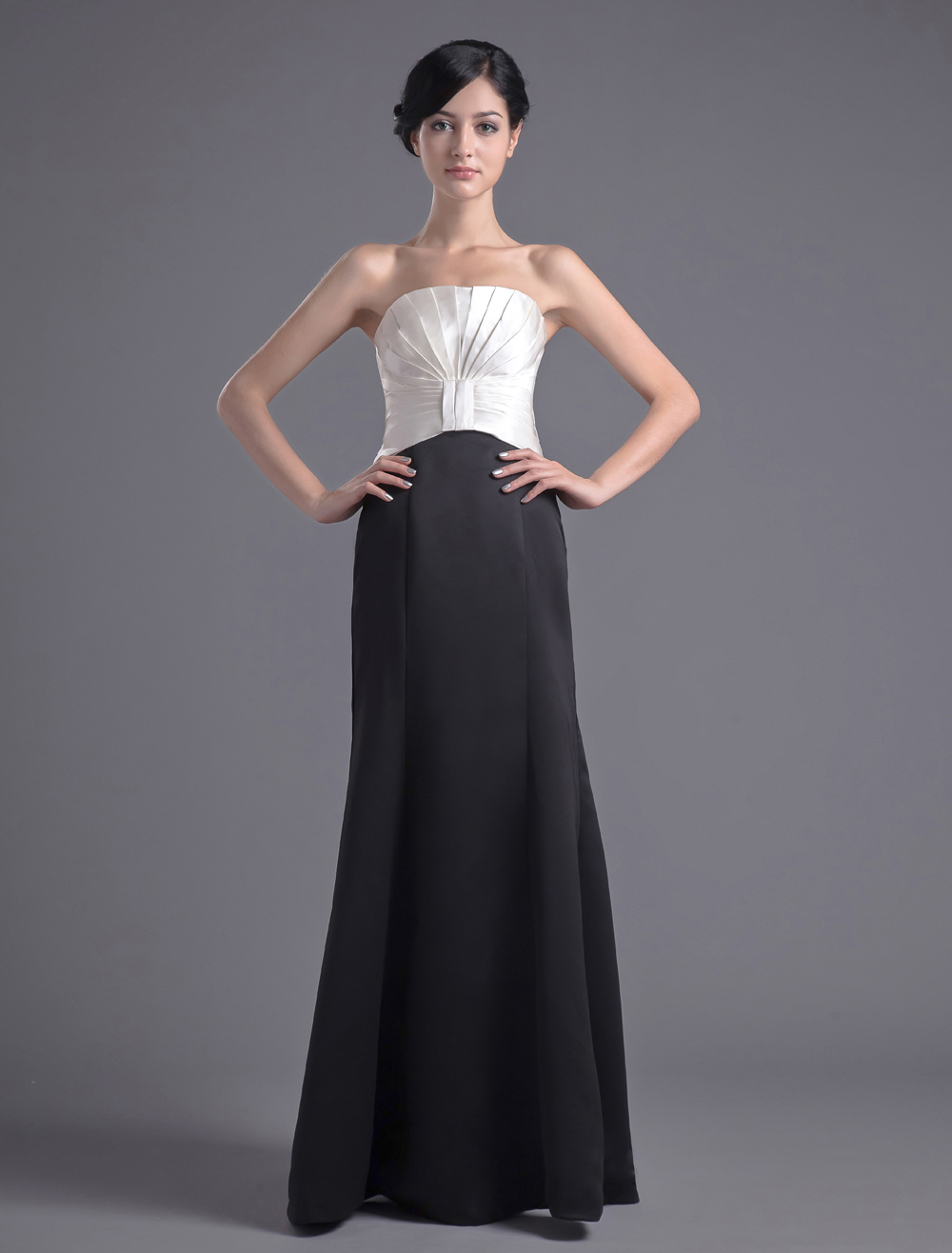Elegant Satin Strapless Fashion Evening Dress