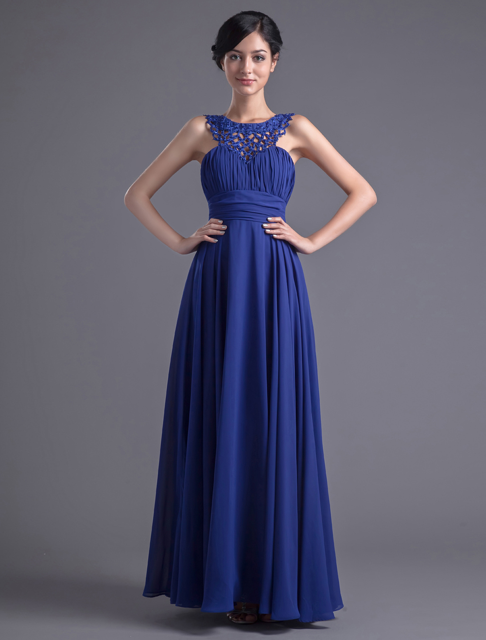 Royal Blue Chiffon Jewel Neck Evening Dress