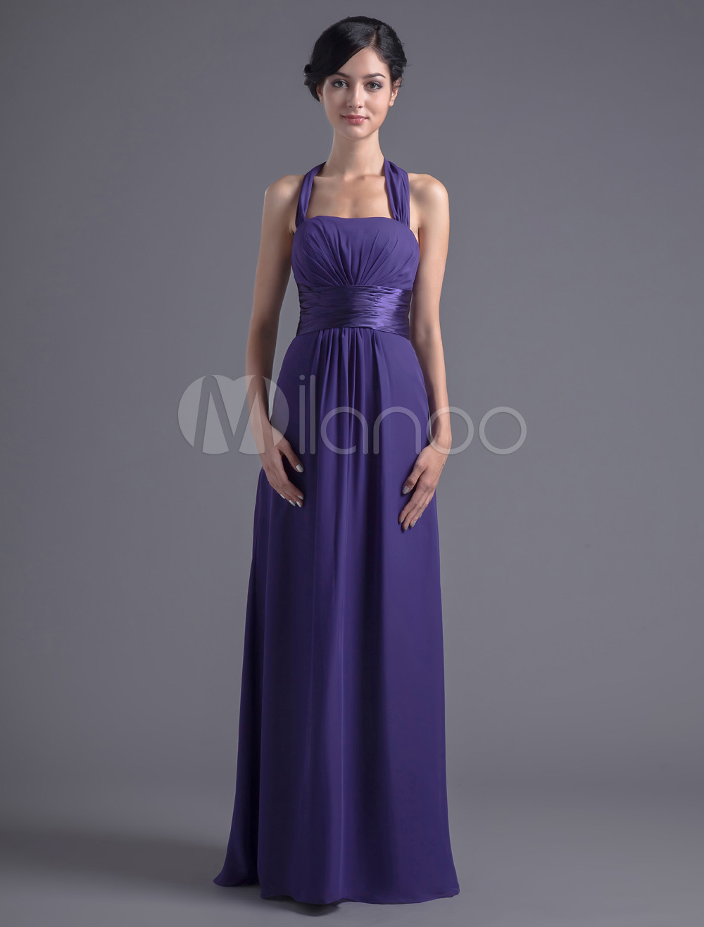 Empire Waist Deep Purple Chiffon Halter Bridesmaid Dress For Wedding