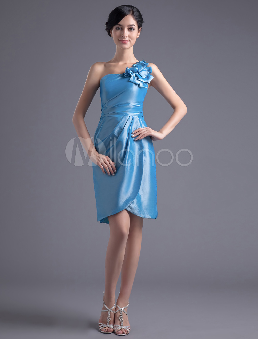Sheath Royal Blue Taffeta Floral One-Shoulder Fashion Bridesmaid Dress