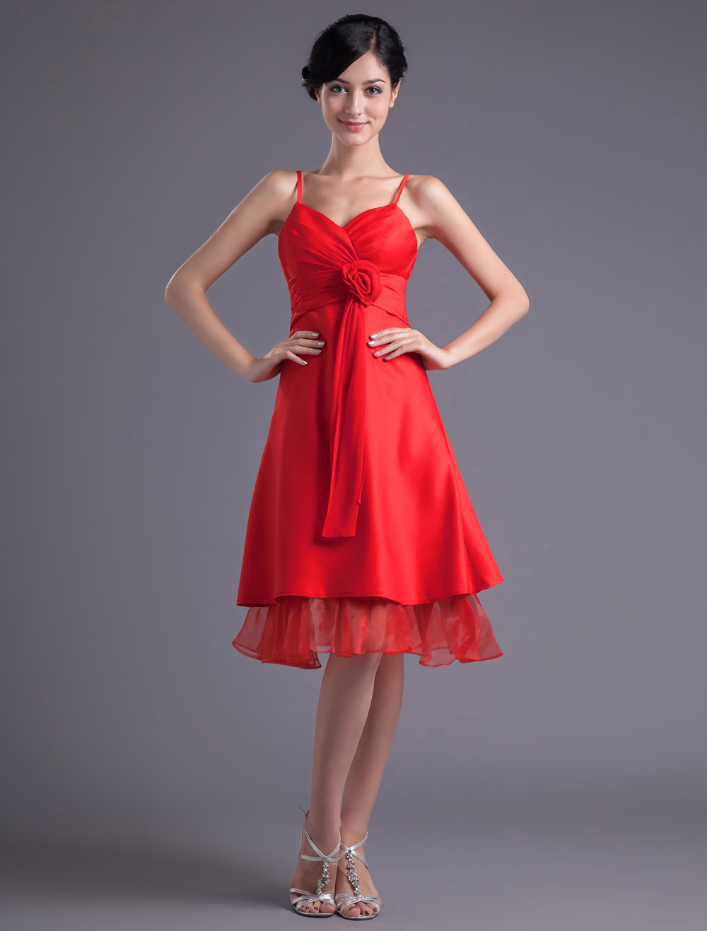 A-line Red Satin Floral Straps Knee-Length Fashion Bridesmaid Dress
