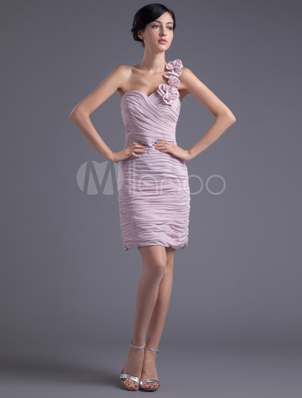 Sheath Pink Chiffon Floral One-Shoulder Short Bridesmaid Dress (Wedding Bridesmaid Dresses) photo