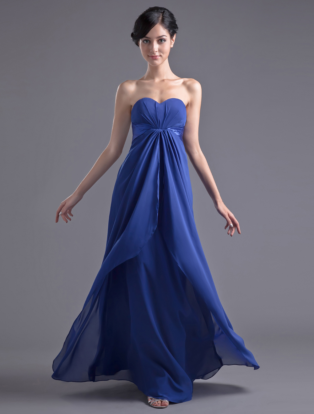 Blue Bridesmaid Dress Floor-Length Strapless Ruched Sheath Chiffon Dress