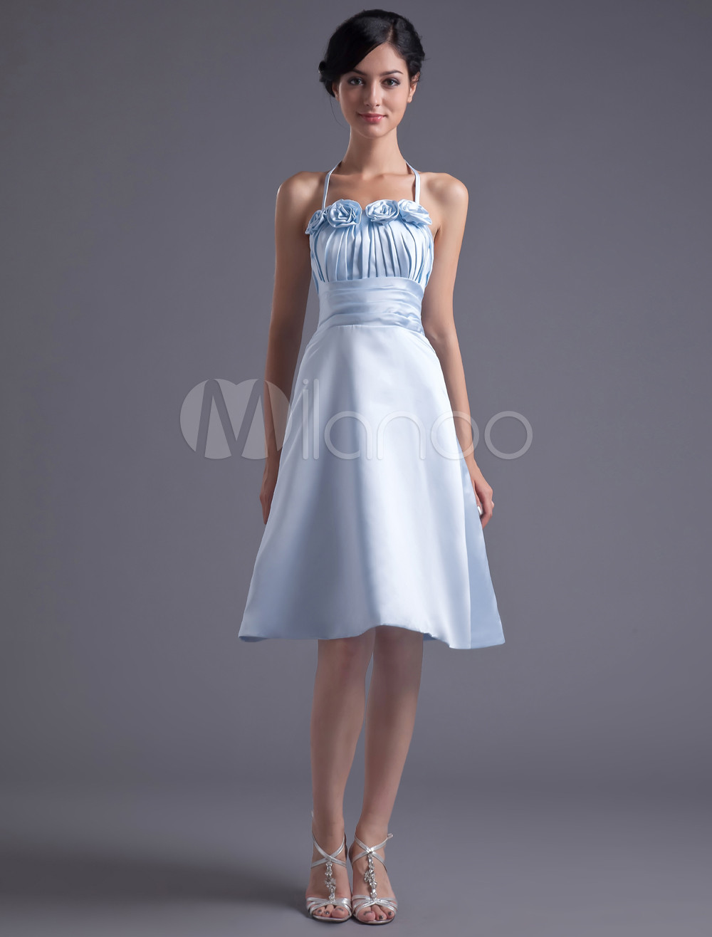 A-line Light Sky Blue Satin Floral Halter Knee-Length Fashion Bridesmaid Dress