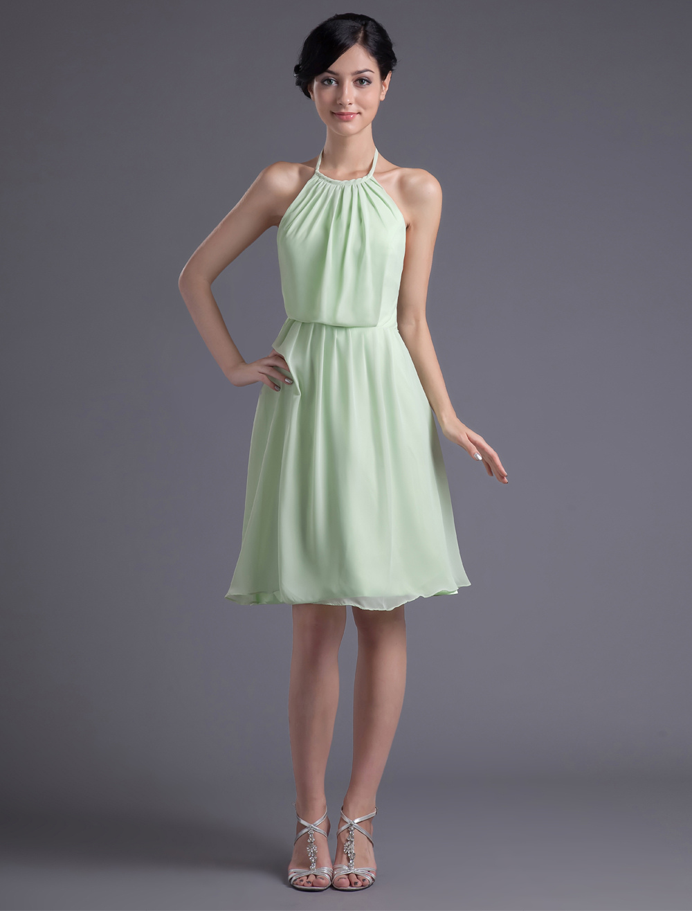Short Bridesmaid Dress Pastel Green Party Dress Halter A line Chiffon Backless Prom Dress