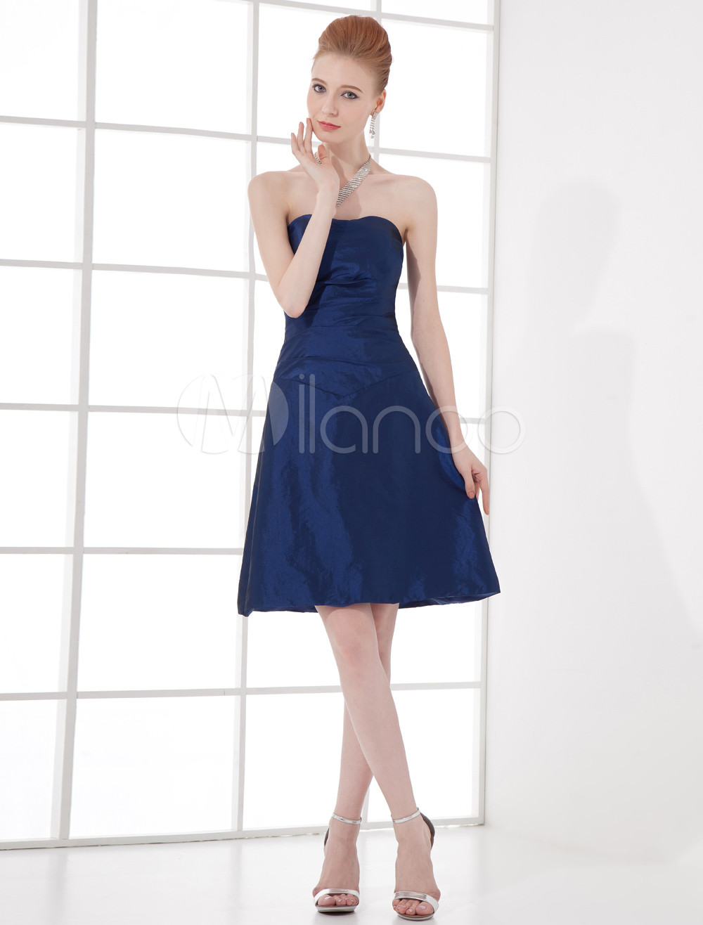 A-line Royal Blue Taffeta Sweetheart Short Wedding Bridesmaid Dress