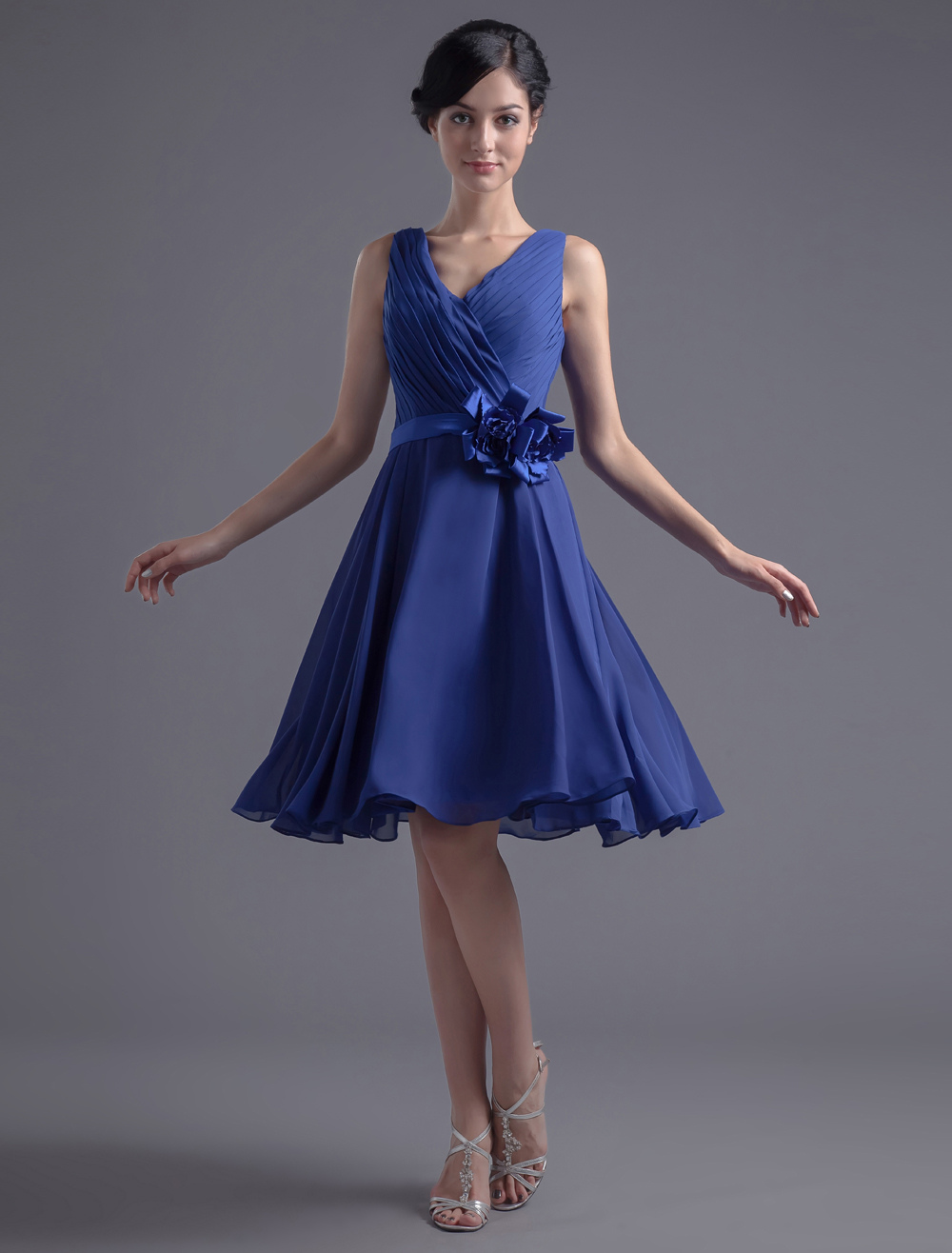 Blue Bridesmaid Dress Knee-Length Deep-V Backless Sash Ruched Chiffon Dress