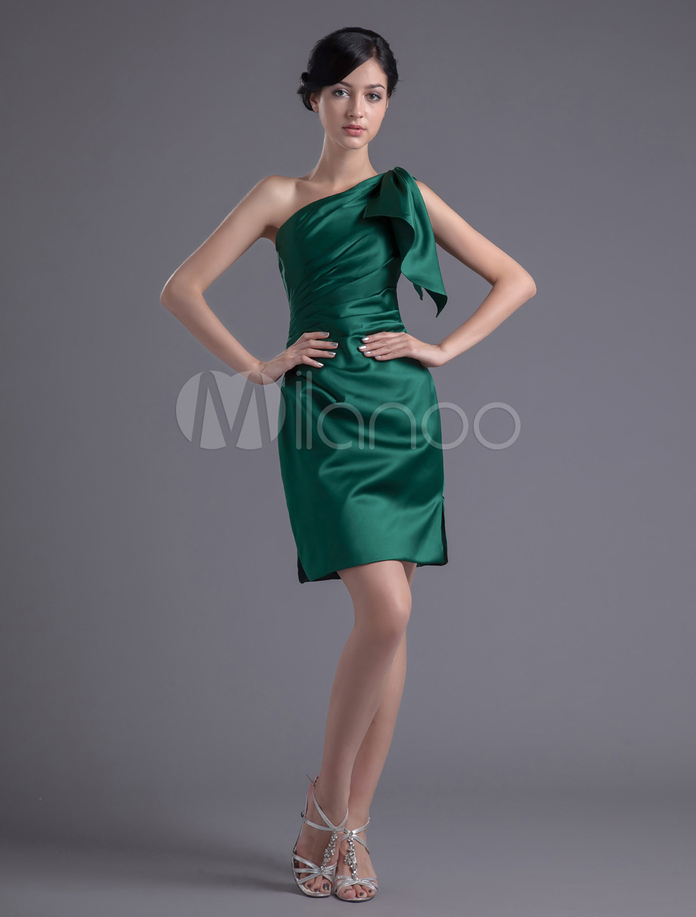Sheath Hunter Green Satin One-Shoulder Short Bridesmaid Dress For Wedding