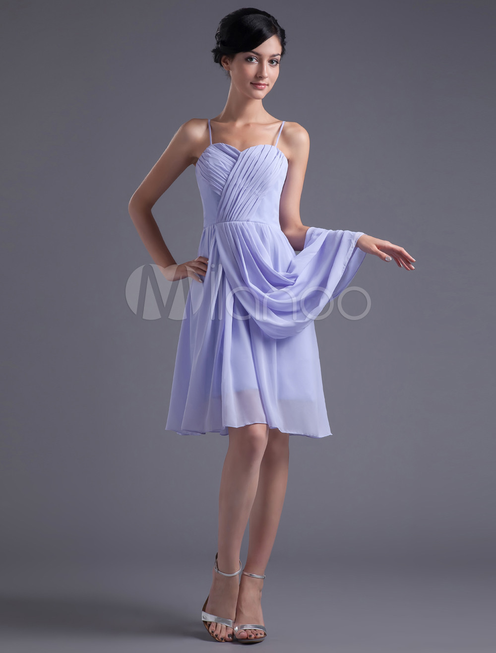 A-line Lavender Chiffon Straps Knee-Length Wedding Bridesmaid Dress