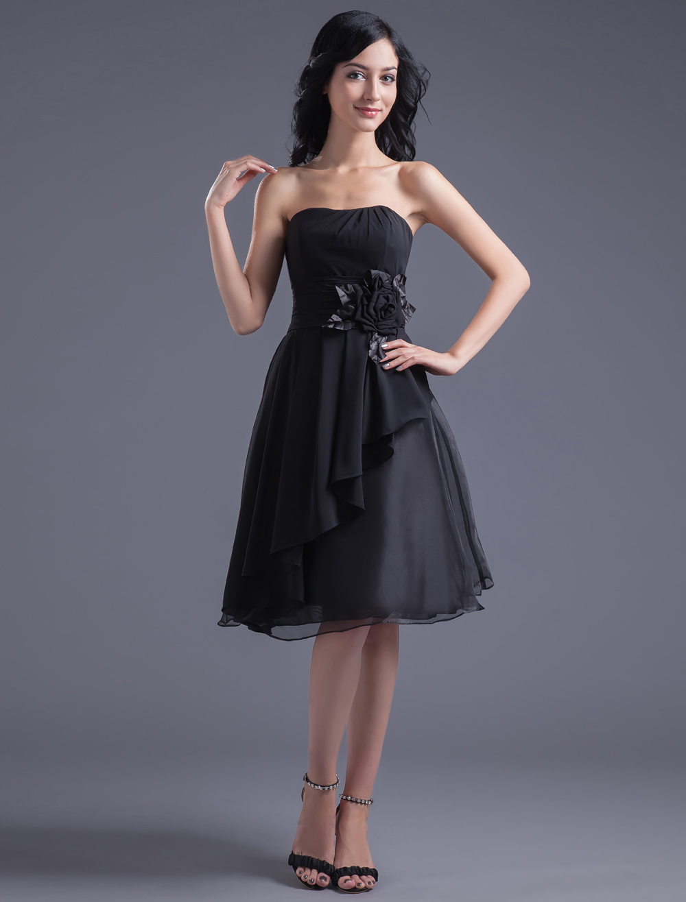 A-line Black Chiffon Floral Strapless Knee-Length Fashion Bridesmaid Dress