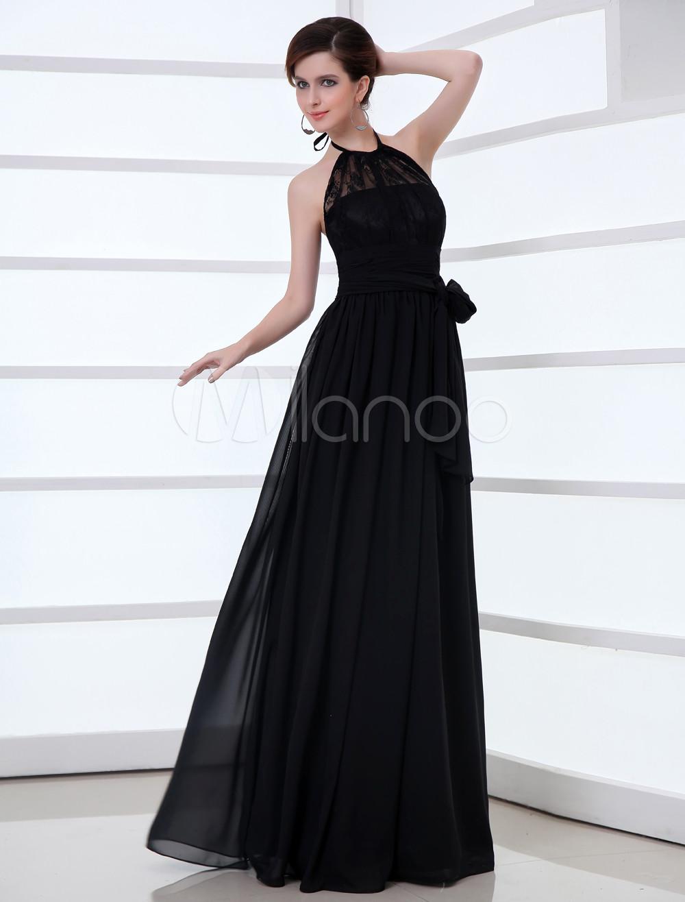 Elegant Black Chiffon Lace Halter Sexy Evening Dress (Wedding Evening Dresses) photo