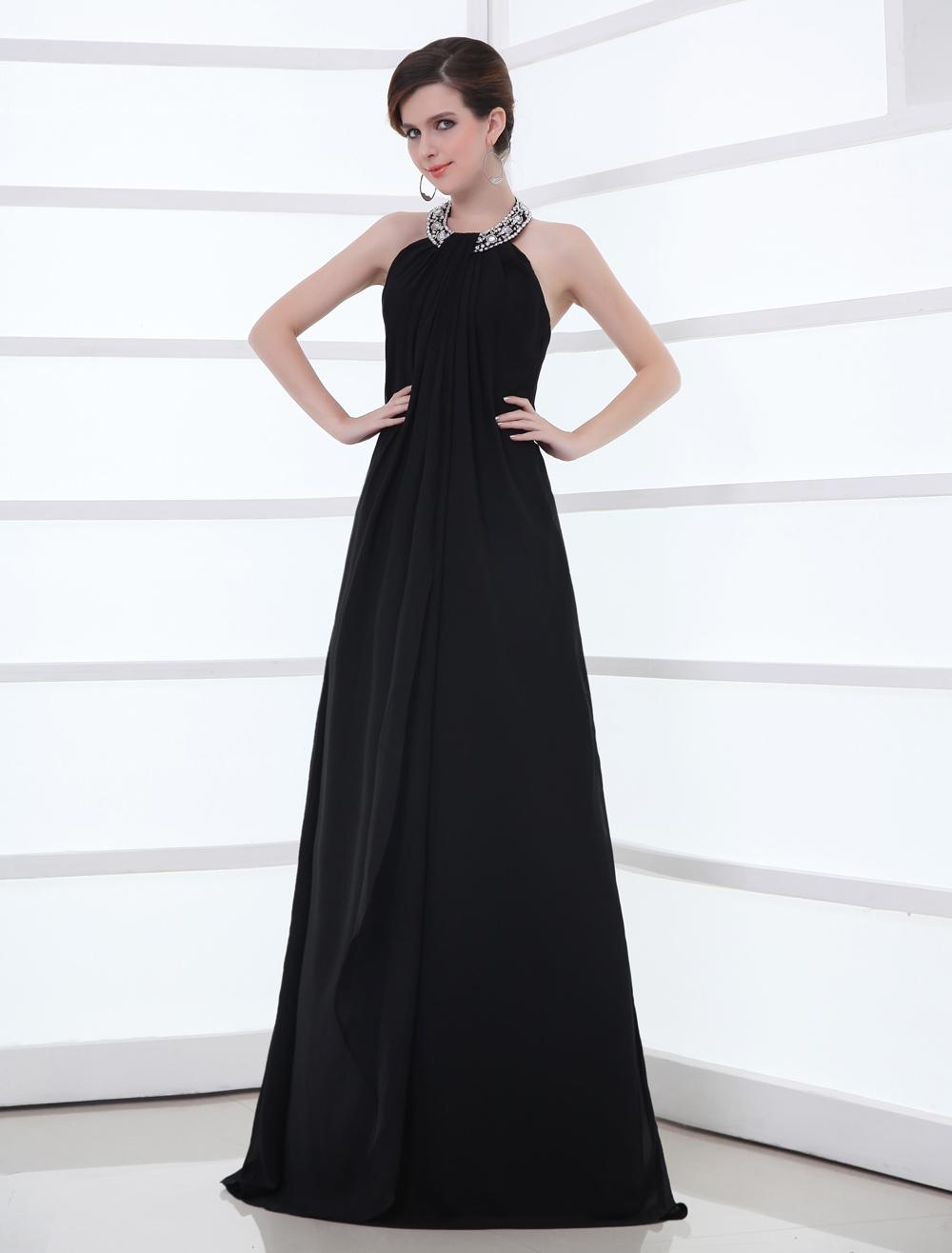 Black Chiffon Rhinestone Halter Evening Dress (Wedding Evening Dresses) photo
