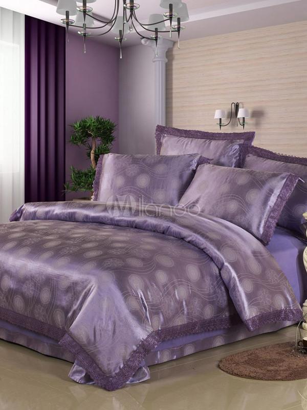 Viola cotone jacquard 4 piece set di biancheria da letto - Biancheria casa lusso ...