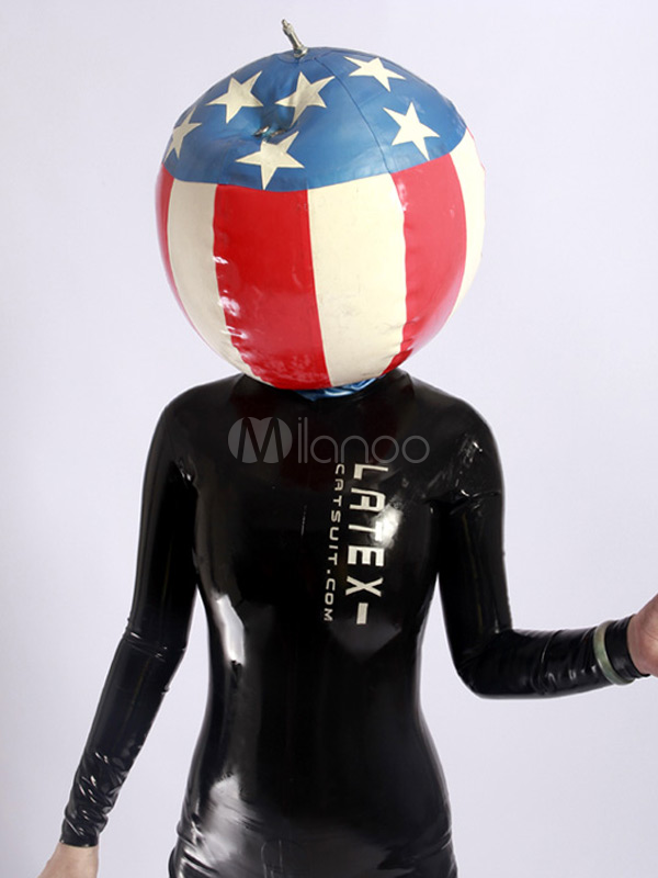 Flag Pattern Latex Unisex Catsuits & Zentai Inflatable Hood