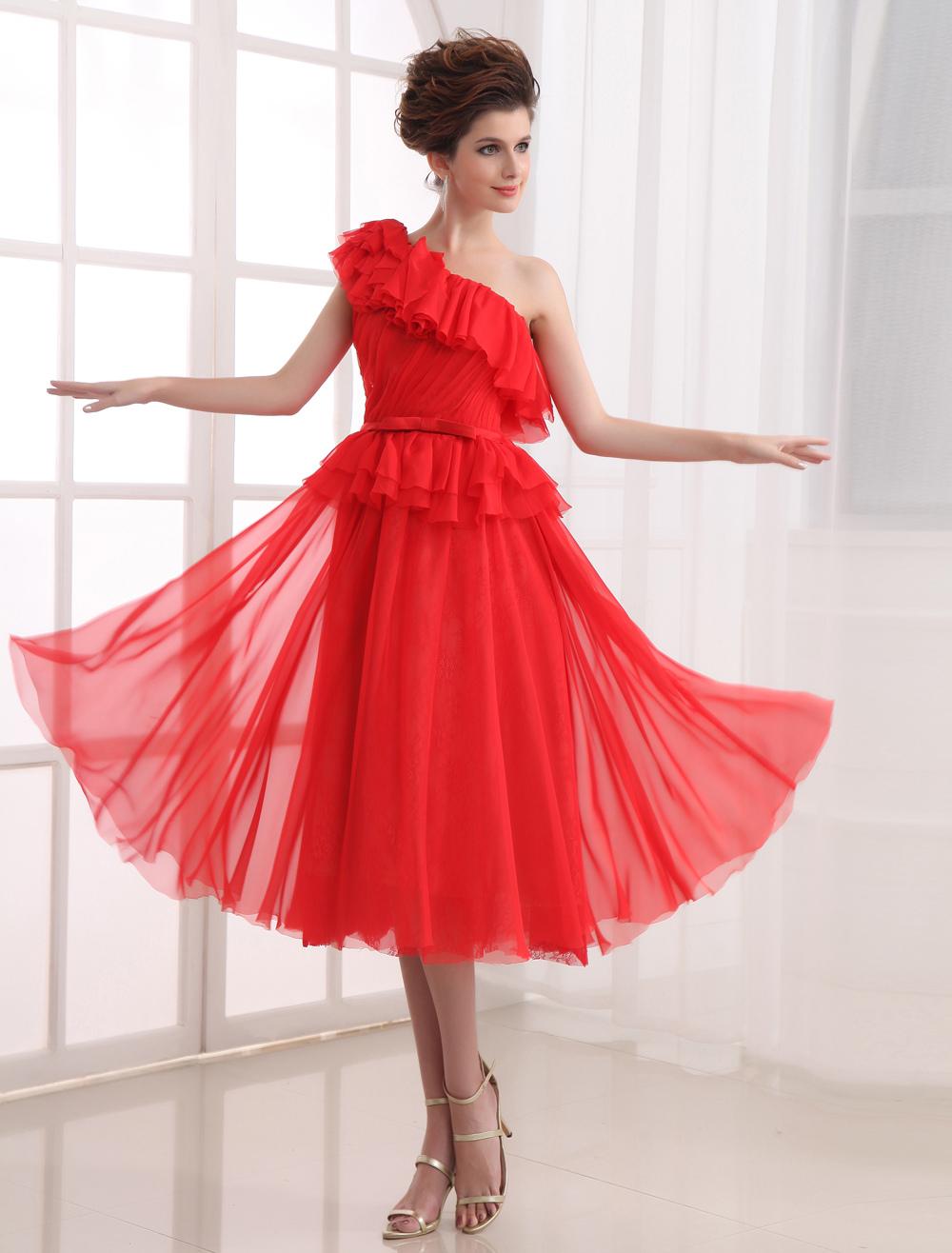 A-line Red Chiffon One-Shoulder Tea-Length Prom Dress