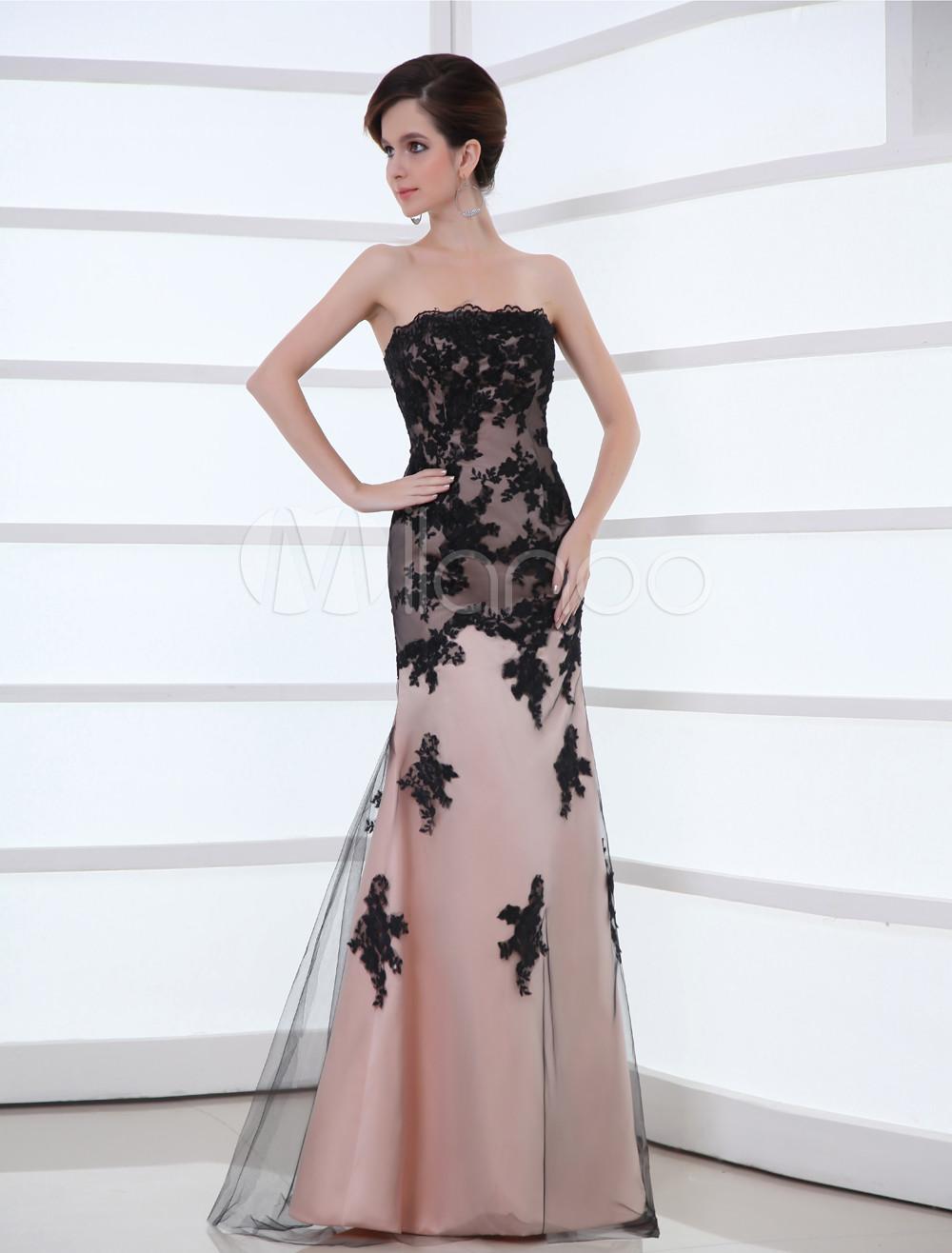 Pink Floral Net Lace Strapless Evening Dress (Wedding Evening Dresses) photo