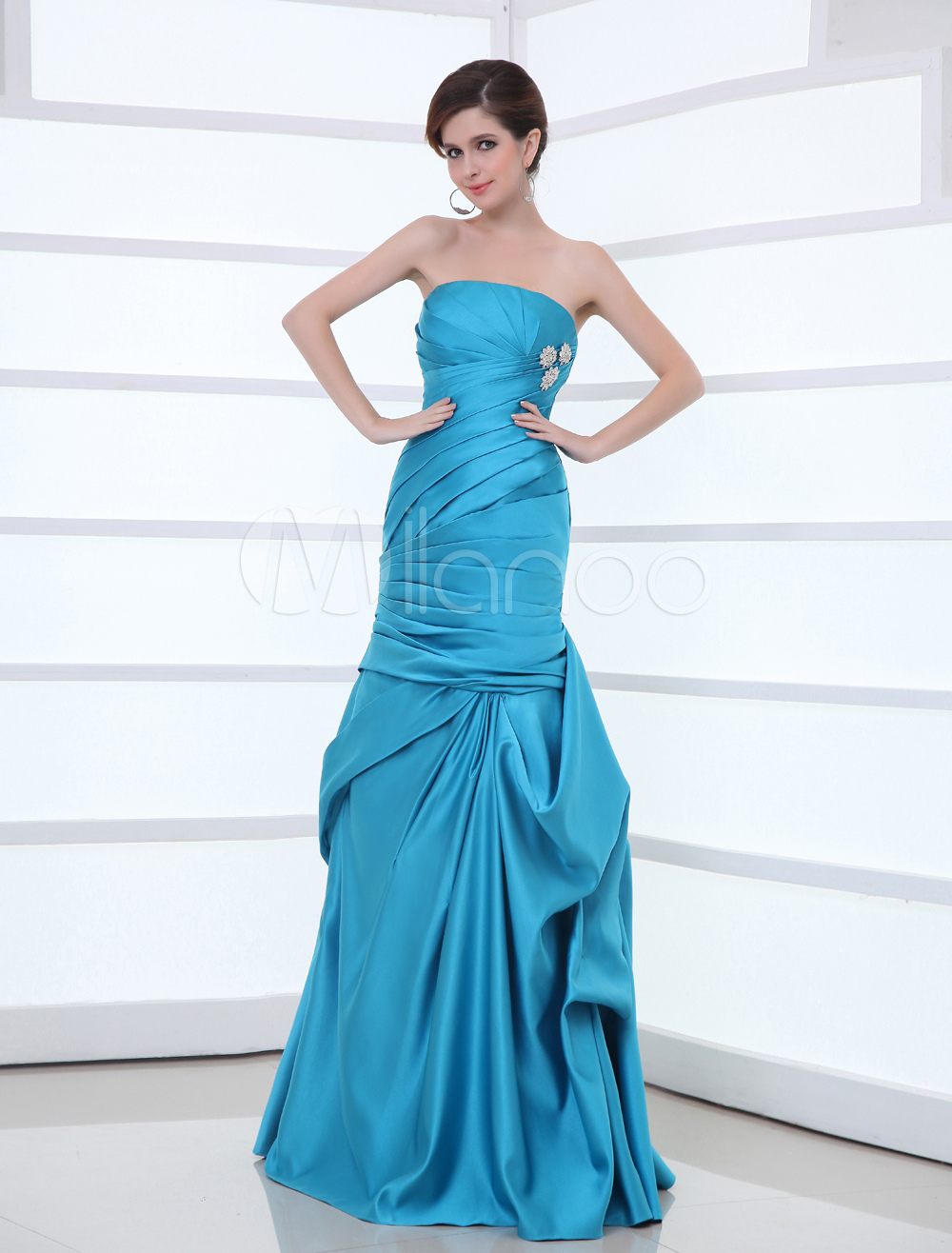 Mermaid Evening Dress Satin Strapless Ruched Formal Dress Draped Rhinestones Beaded Floor Length Occasion Dress