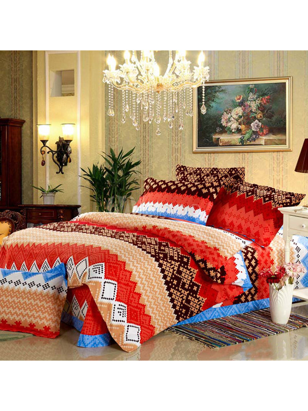 ethnique coton motif plaid rouge pon age de luxe 4 pi ces. Black Bedroom Furniture Sets. Home Design Ideas