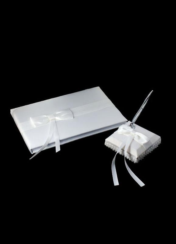stylos et livre d 39 or mariage blanc bow. Black Bedroom Furniture Sets. Home Design Ideas