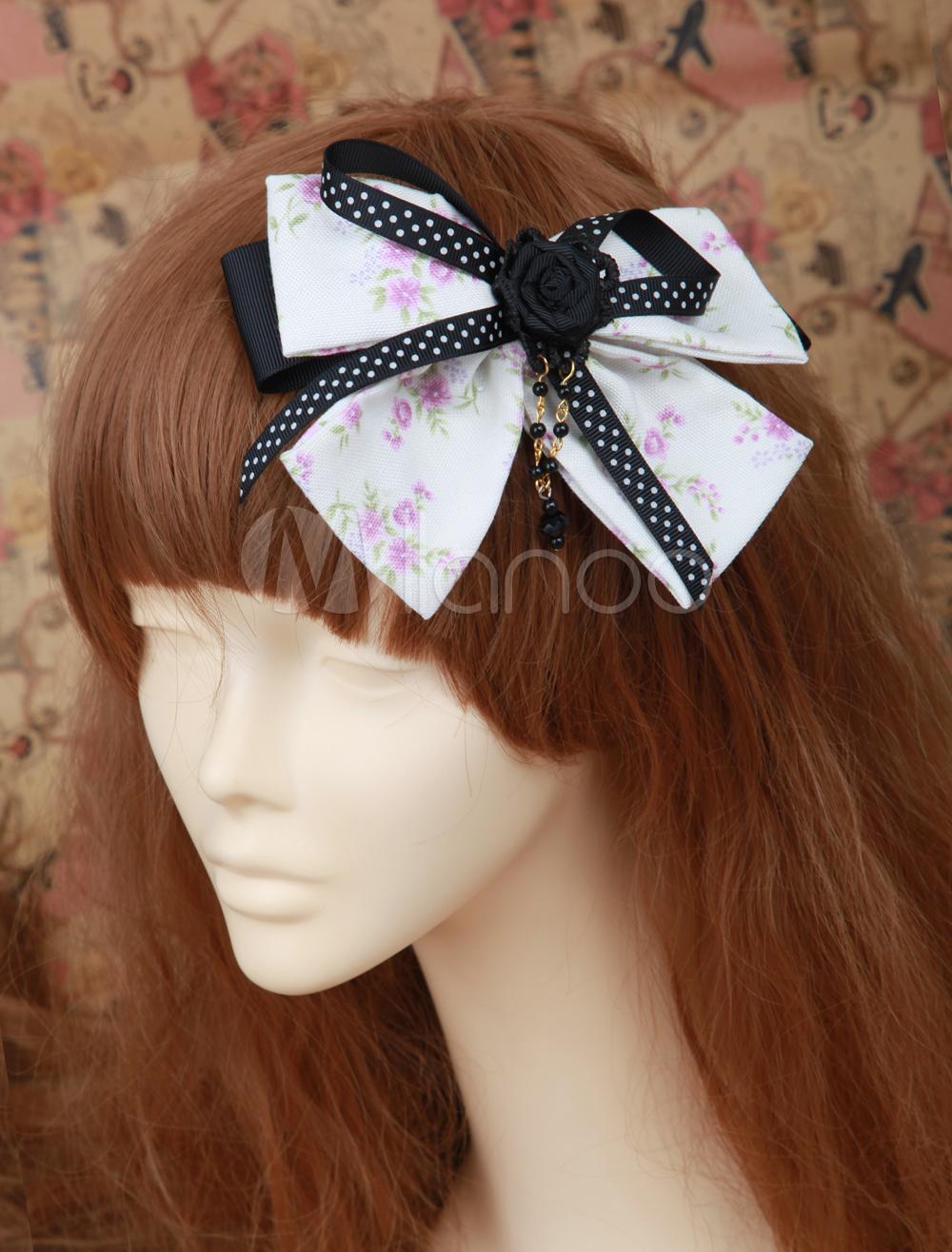 Multi-Color Bow Cotton Lolita Side Pin
