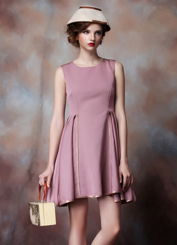 Sleeveless Cocktail Dress Cameo Pink Pleated Short Prom Dress Round Neck Mini Wedding Party Dress Wedding Guest Dress (Cocktail Dresses) photo