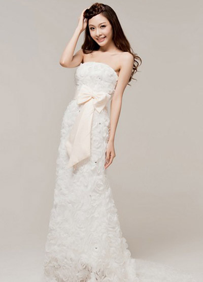 White Sheath Strapless Floral Bow Organza Wedding Dress For Bride