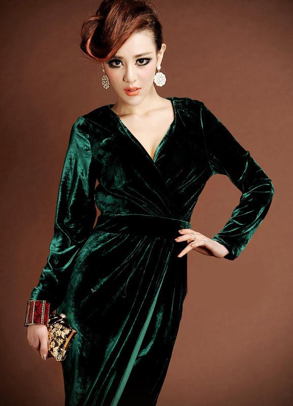 robe d 39 hotesse velours longue la mode des robes de france. Black Bedroom Furniture Sets. Home Design Ideas