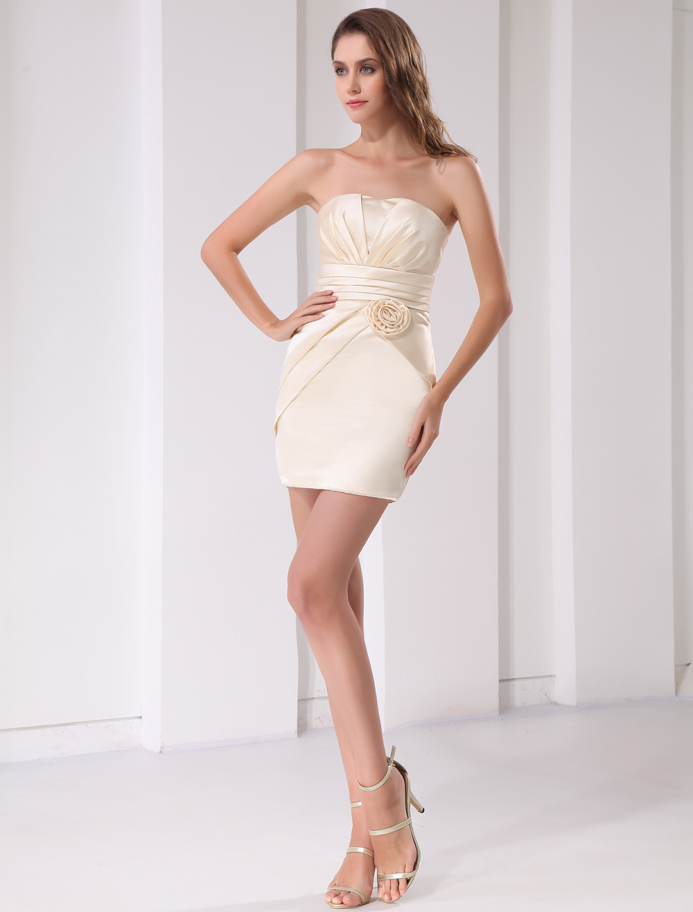 Sheath Champagne Satin Floral Strapless Knee-Length Bridesmaid Dress For Wedding