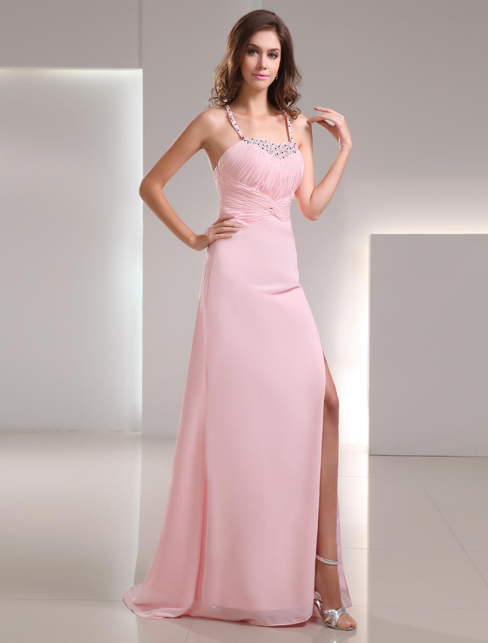 Sheath Pink Chiffon Ruched Sweep Prom Dress (Wedding Prom Dresses) photo