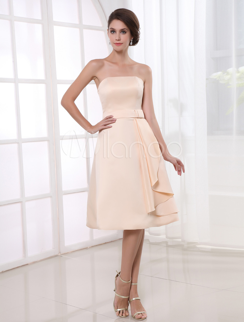 A-line Champagne Satin Ruffles Strapless Knee-Length Wedding Bridesmaid Dress