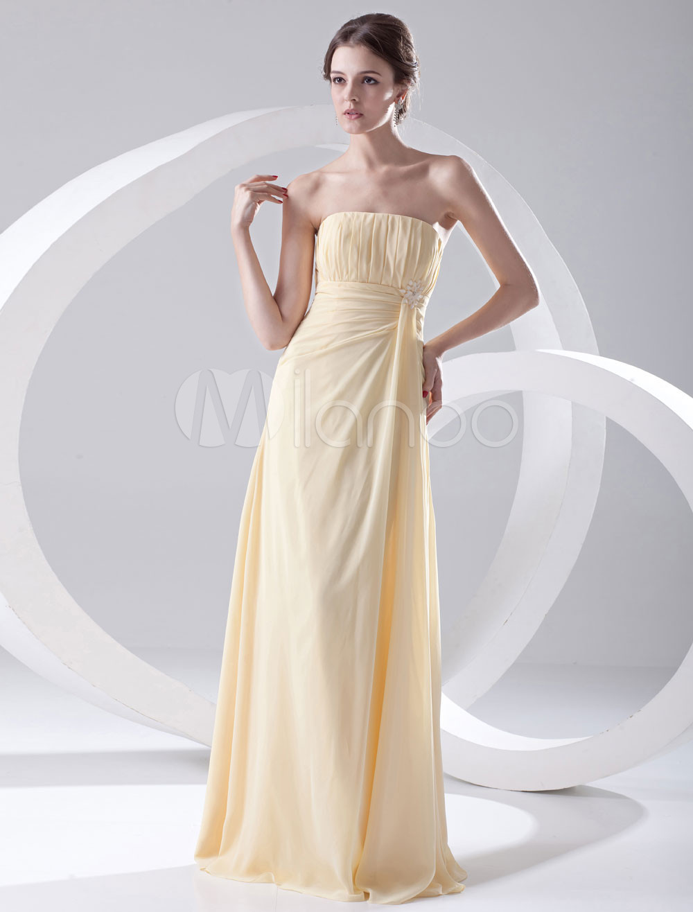 Sheath Daffodil Chiffon Beading Floor-Length Bridesmaid Dress For Wedding