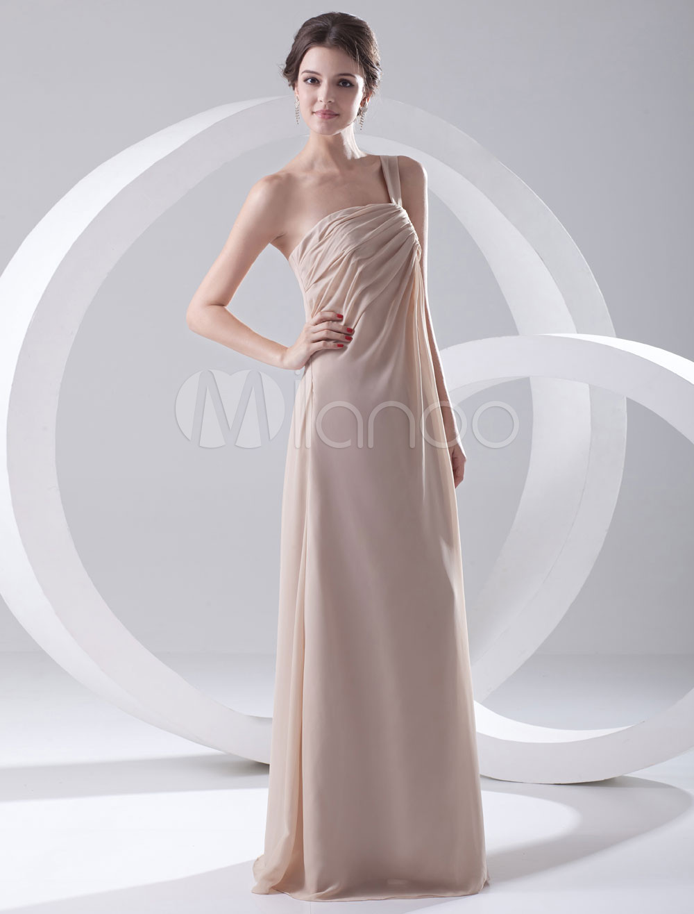 A-line Champagne Chiffon Ruched One-Shoulder Floor-Length Bridesmaid Dress For Wedding