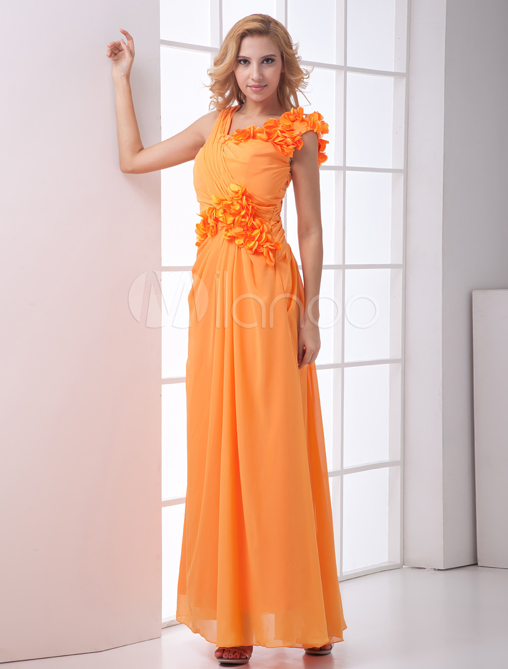 A-line Orange Chiffon Floral V-Neck Bridesmaid Dress